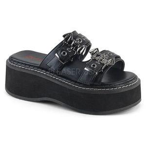 Shoes - Gothic Shoes Platform Bat Buckles Slide Sandal